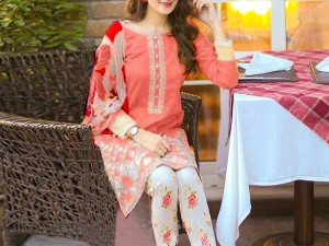 2-Pcs Sequins Embroidered Lawn Dress 2020 with Embroidered Trouser Price in Pakistan