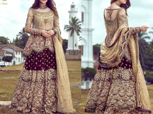 Heavy Handwork Embroidered Chiffon Bridal Dress with Heavy Chiffon Lehenga Price in Pakistan