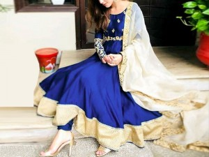 Embroidered Chiffon Maxi Dress with Net Dupatta Price in Pakistan