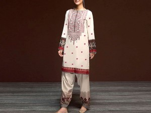 2-Pcs Embroidered Lawn Dress with Embroidered Trouser