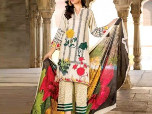 Elegant Embroidered Lawn Dress with Chiffon Dupatta Price in Pakistan