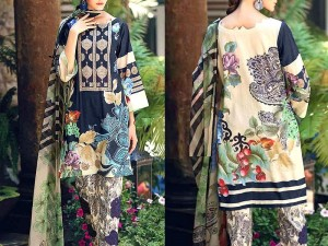 Trendy Embroidered Lawn Dress 2020 with Chiffon Dupatta Price in Pakistan