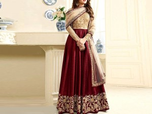 Indian Embroidered Maroon Chiffon Maxi Dress Price in Pakistan