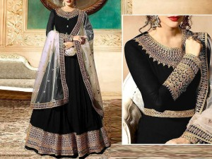 Indian Embroidered Black Chiffon Maxi with Net Dupatta