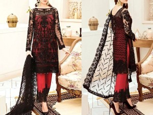 Embroidered Black Net Dress with Inner Price in Pakistan