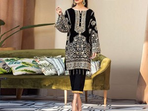 Embroidered Black Cotton Dress with Chiffon Dupatta