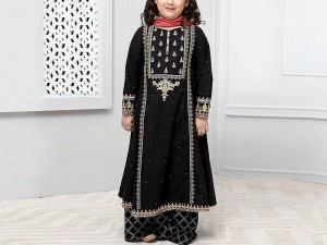 Kids 2-Pcs Embroidered Black Lawn Dress