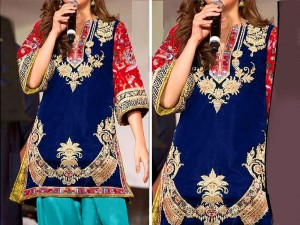 2-Pcs Heavy Embroidered Blue Lawn Dress 2020 Price in Pakistan