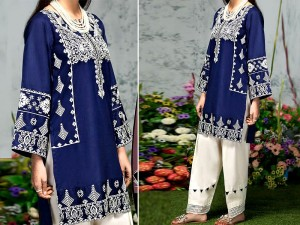 2-Pcs Embroidered Navy Blue Lawn Suit 2020 Price in Pakistan