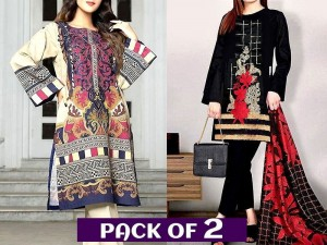 Pack of 2 Lawn Dresses with Chiffon Dupatta Price in Pakistan