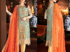 Heavy Mirror Work Embroidery Chiffon Wedding Dress with 4-Side Embroidered Dupatta Price in Pakistan