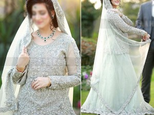 Heavy Handwork Embroidered Net Bridal Lehenga Dress Price in Pakistan