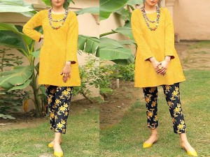2-Pcs Heavy Sequins Embroidered Lawn Dress with Embroidered Trouser Price in Pakistan