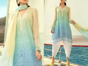 Luxury Schiffli Embroidered Lawn Dress with Chiffon Dupatta