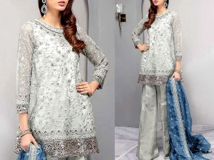Heavy Handwork Embroidered Net Bridal Dress with Embroidered Chiffon Dupatta