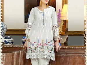 2-Pcs Chikankari Embroidered Lawn Dress with Embroidered Trouser Price in Pakistan