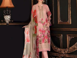 Heavy Neck Embroidered Lawn Dress with Chiffon Dupatta Price in Pakistan