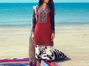 Heavy Embroidered Lawn Dress with Lawn Dupatta
