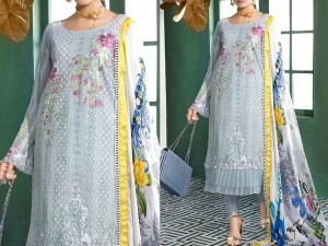 Heavy Schiffli Embroidered Lawn Dress with Digital Silk Dupatta Price in Pakistan