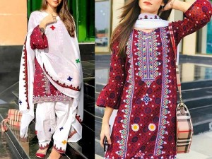 Traditional Embroidered Lawn Dress with Embroidered Chiffon Dupatta Price in Pakistan