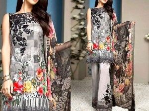 Embroidered Lawn Dress with Embroidered Trouser & Chiffon Dupatta Price in Pakistan