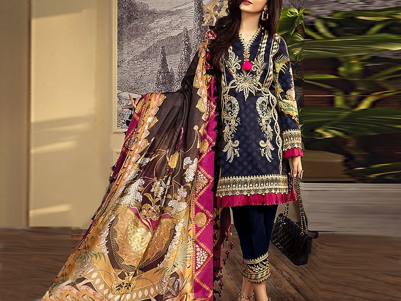 Luxury Embroidered Airjet Lawn Dress with Chiffon Dupatta Price in Pakistan