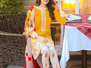 Embroidered Airjet Lawn Dress with Chiffon Dupatta Price in Pakistan