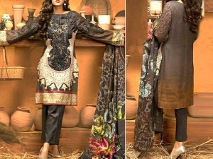 Heavy Digital Print Embroidered Lawn Dress with Chiffon Dupatta Price in Pakistan