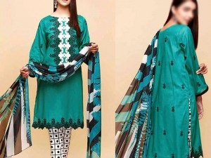 Elegant Embroidered Lawn Dress 2020 with Chiffon Dupatta Price in Pakistan
