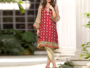 Trendy 2-Piece Heavy Embroidered Cotton Lawn Dress with Embroidered Trouser