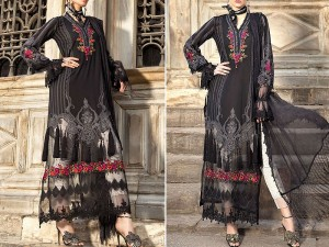 Luxury Embroidered Black Lawn Dress with Chiffon Dupatta Price in Pakistan