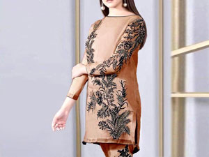 Trendy 2-Pcs Sequins Embroidered Lawn Dress 2020