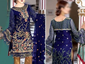 Heavy Embroidered Chiffon Dress with Jamawar Trouser Price in Pakistan