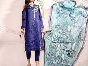 Heavy Schiffli Embroidered Lawn Dress with Chiffon Dupatta Price in Pakistan