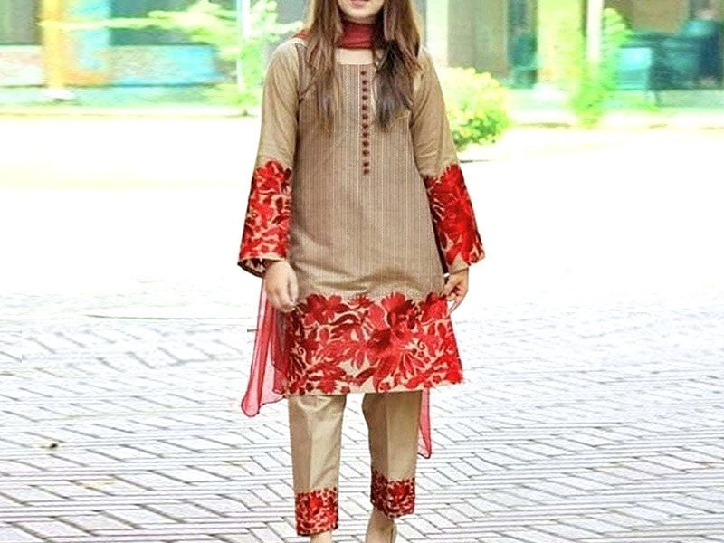 2-Pcs Scroll Embroidered Lawn Dress Price in Pakistan