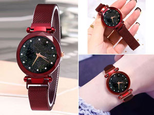 Luxury Magnetic Strap Ladies Watch - Red Price in Pakistan