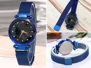 Luxury Magnetic Strap Ladies Watch - Blue Price in Pakistan