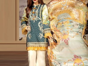 Heavy Embroidered Airjet Lawn Suit with Chiffon Dupatta Price in Pakistan
