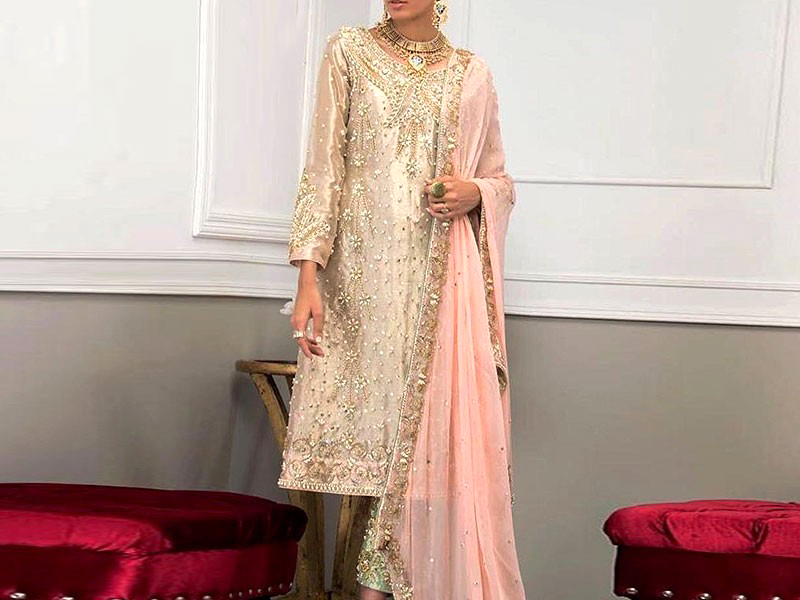 Handwork Heavy Embroidered Masoori Dress with Chiffon Dupatta Price in Pakistan