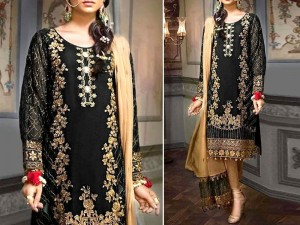 Handwork Embroidered Black Chiffon Wedding Dress Price in Pakistan