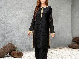 2-Pcs Chikankari Embroidered Lawn Dress with Embroidered Trouser