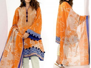 Elegant Embroidered Masoori Lawn Dress with Chiffon Dupatta