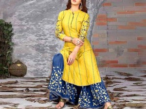 2-Pcs Scroll Embroidered Lawn Dress with Embroidered Trouser