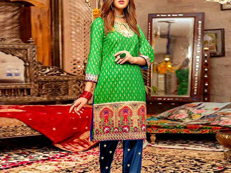 2-Pcs Heavy Embroidered Cotton Dress with Embroidered Trouser Price in Pakistan