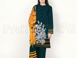 Sequins Embroidered Green Lawn Dress with Chiffon Dupatta