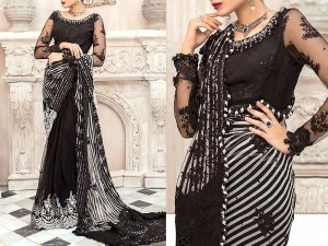 Handwork Heavy Embroidered Black Chiffon Saree with Inner Price in Pakistan