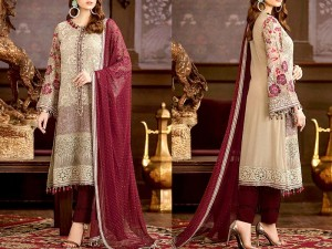 Luxury Embroidered Chiffon Wedding Dress 2020 with Four Side Embroidered Dupatta