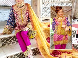 Heavy Handwork Embroidered Chiffon Wedding Dress with Net Dupatta