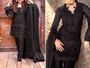 Handwork Heavy Embroidered Black Net Dress