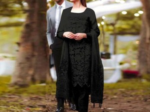 Heavy Embroidered Black Net Dress Price in Pakistan